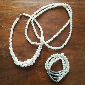 Faux Pearl Necklace and Bracelet Combo